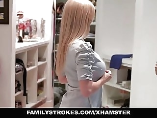 familyStrokes - Step Mom fucks stepson while dad is away blonde hardcore
