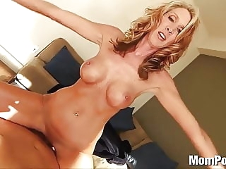 Horny blonde MILF swallows cum amateur mature