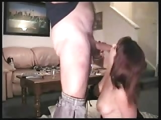 Hot wife gives her husband his treat when he comes home amateur blowjob