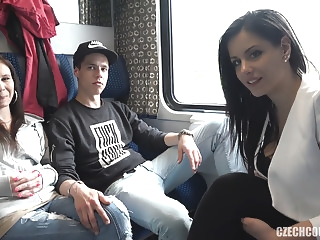 Foursome Sex in Public TRAIN amateur hardcore
