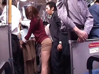 Japanese whore sucks dick in a public bus japanese blowjob