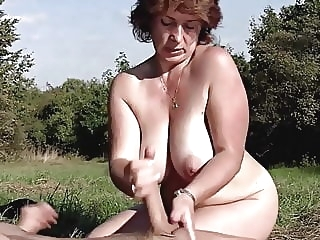 Brunette BBW-Milf Outdoors by Young Guy bbw mature
