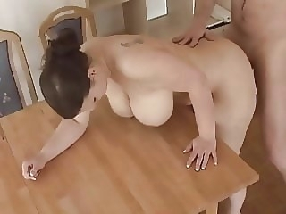 busty german wife gets fucked on table amateur bbw