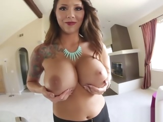 Slut shows her huge tits straight massage